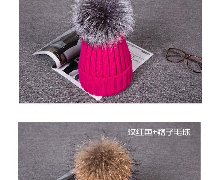 Invierno sombrero femenino gorro de lana bola real Raccoon Fox ... ef784f7e5d65