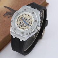 GOER Mechanical Watches Men Silicone Strap Skeleton Automatic Wrist Watches For Men Sports Watches Men relojes hombre Winner