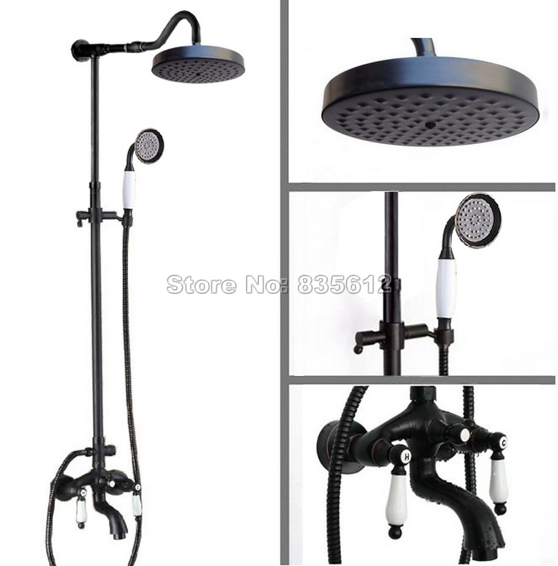 Black Oil Rubbed Bronze Wall Mounted Bathroom Rain Shower Faucet Set with Ceramic Handheld Shower + Tub Mixer Tap Wrs687