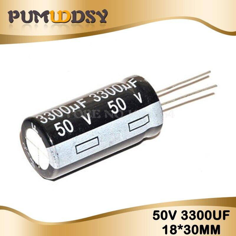 5PCS Higt Quality 50V3300UF 18*30mm 3300UF 50V 18*30 Electrolytic Capacitor