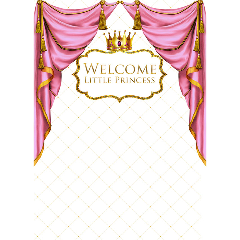 Mehofoto Princess Baby Shower Photo Backdrop for Photography Step Repeat Background Crown Customize