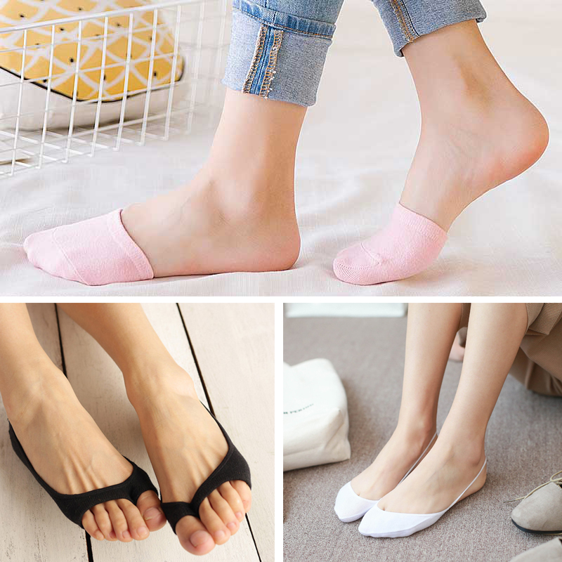 1/3/4Pairs Women Silicone Invisible Cotton Socks Slippers For Girls Summer Thin Boat Socks Non Slip Low Cut Ankle Sox Calcetines