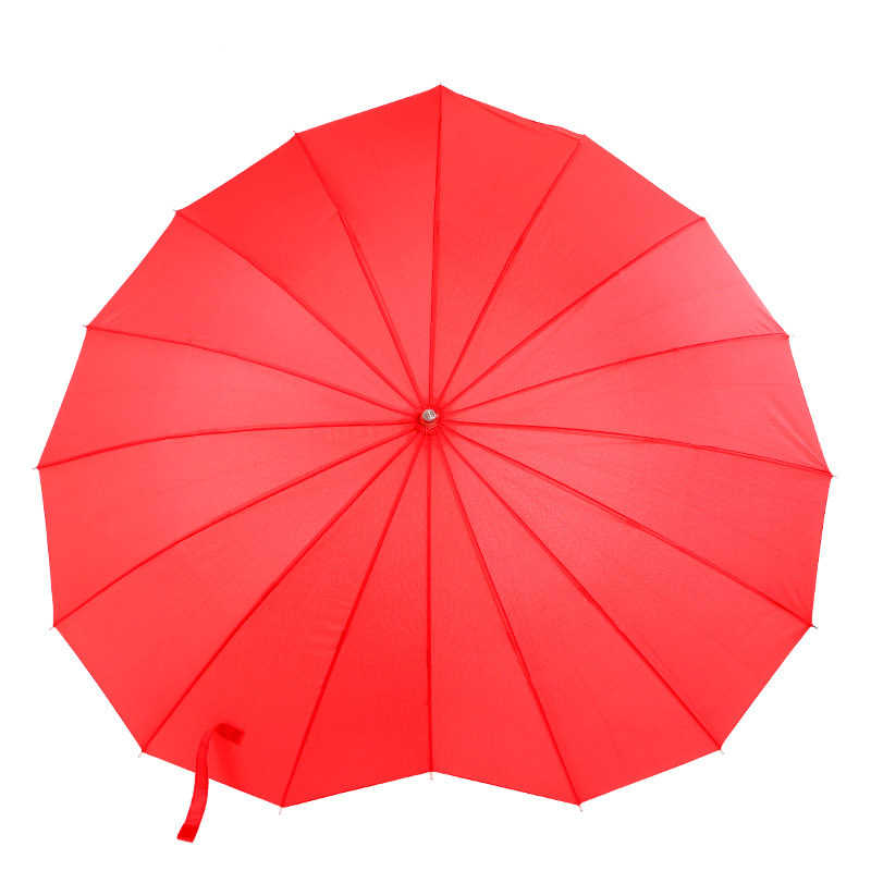 Fashion Red Heart Shaped Red Rain Umbrella For Womens Decoration Parasol Photo Props Valentine Wedding Girl Gift Sun Umbrellas