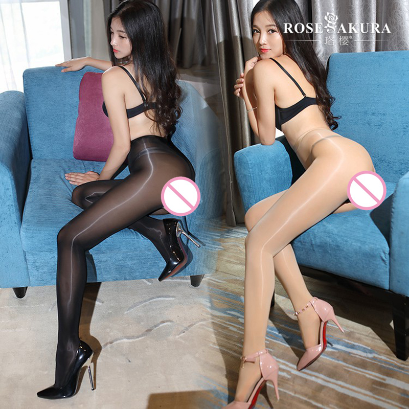 Sexy Women 8D 912Pin Open Crotch High Waist Shiny Glossy Oil Stocking One Line Crotch Highs Tights Shaping Pantyhose FX14