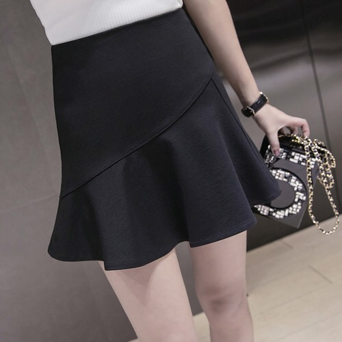 Jupe New Arrival Lanon Solid None Faldas Skirts 2017 Spring And Summer New High Waist Irregular Fish Tail Skirt Wild Big Female