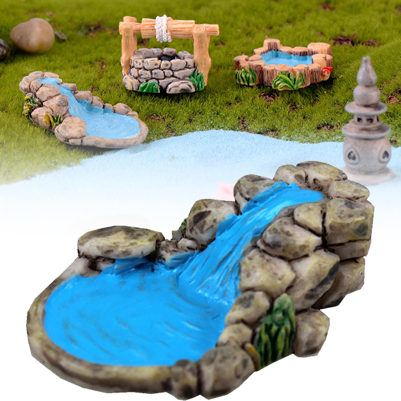 Resin Bonsai Crafts DIY Figurines Micro Landscape Decor Courtyard Garden Miniature Retro Toys Lawn Mini Pond Tower