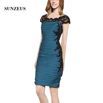 Short Blue Satin Mother Of The Bride Dress With Black Appliques Sheath Cap Sleeves Women Party Gowns For Weddings