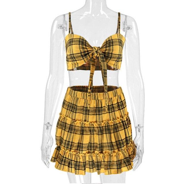 Conjunto de 2 piezas de tela escocesa amarilla de verano para mujer, conjunto Top corto con lazo plisado, volantes, falda con cintura elástica, conjunto de 2 piezas, conjunto de playa Sexy, conjunto de mujer