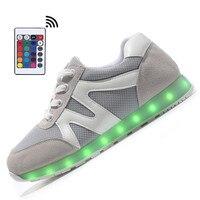 2017 Remote LED Flashing Light Up Leisure Luminous Shoes Adults Man 11 LED Color USB Charging Wear non-slip Ventilation