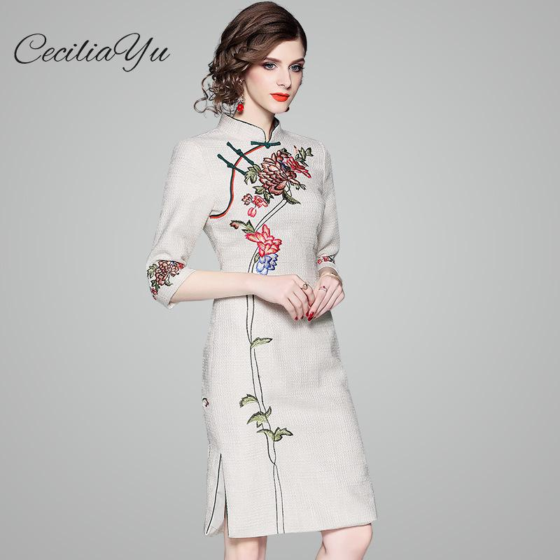 2018 printemps Ceciliayu nouveau Style élégance et mode femmes robe Floral trois quarts broderie Stand automne robes