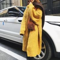 Weinsky Yellow Long Sweater Women Winter 2018 Casual Style Women Jumpers Sweaters Oversized Cardigans Ladies Wool Sweaters Coat