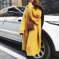 Weinsky Yellow Long Sweater Women Winter 2018 Casual Style Women Jumpers Sweaters Oversized Cardigans Ladies Wool Sweaters Coat