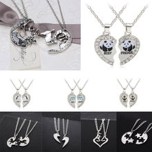 Deer Panda Horse Animal Necklaces 2PC/Set Love Heart Pendant Charm Chain Best Friend Gifts Necklace Friendship