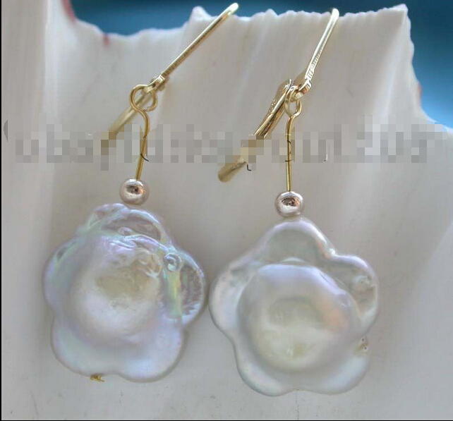 abd6a18dbbba Genuino natural 16mm blanco renacido Keshi perla flor Pendientes 14kgp    f1567!