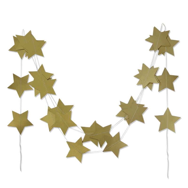 4m Gold Star Garlands Paper Garland for Windows Wa...