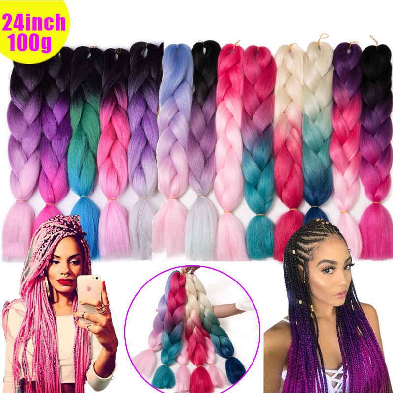 24 ''Ombre Dye Kanekalon Jumbo Синтетический Шнур наращивание волос для жгута, косички