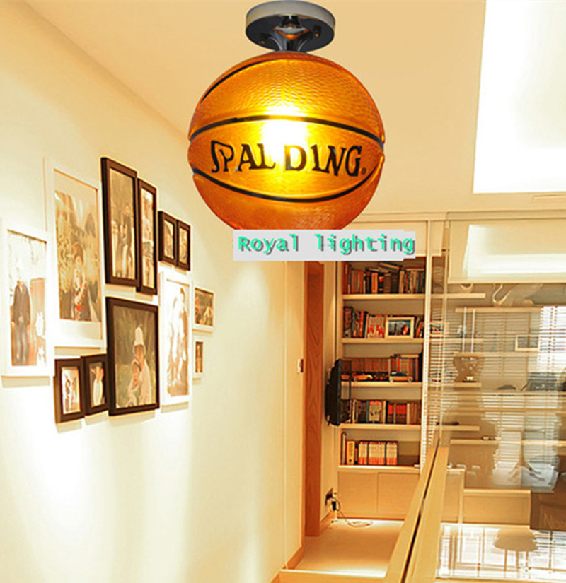 Brown Basket ball lamp ceiling light glass hanging light creative glass ball lamp trendy children room bedroom kids room Light