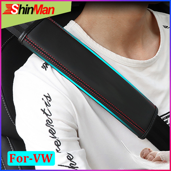 Cinturones de cuero para asiento de coche ShinMan 2 piezas almohadillas para hombros y hombros para Volkswagen GOLF JETTA CC Beetle Passat EOS touareg