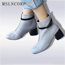 Plus Size 34-43 Women Ankle Boots Buckle Zipper Design Fashion Square High Heel Round Toe Ladies Motorcycle Martin Snow Boots beango europe retro fashion do old ladies knee high boots round toe square heels buckle side zipper women motorcycle boots