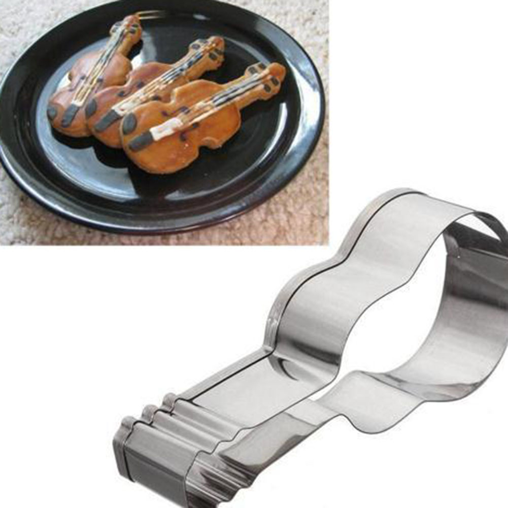 Musical Guitar Cutting Violin Stainless Steel Cute Cutting Biscuit Mould Cake Moulds Fruit Sugar Mold Baking Tools picture color