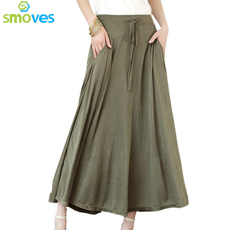 U1402Smoves Women Pocket u2467 Long Long Maxi Skirt Pleated Modal ...