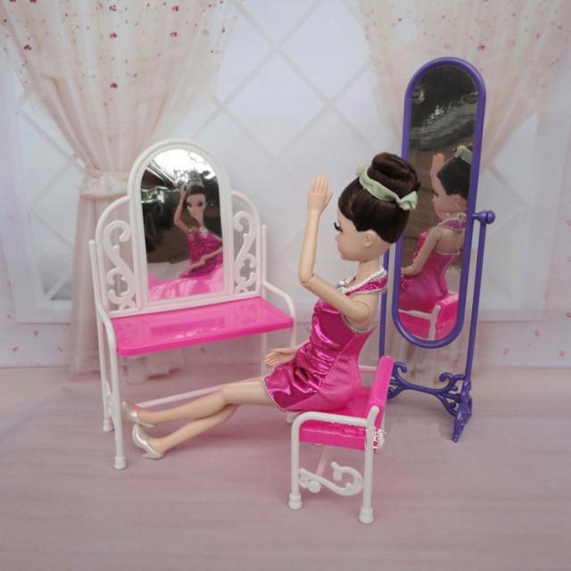 Dolls furniture dollhouse (dressing table+desk + body floor mirror ...