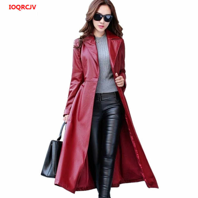 2019 Spring Autumn High-end PU Leather Jacket Fashion Casual Women X-long Belted Female Windbreaker PU Leather Trench Coats W529