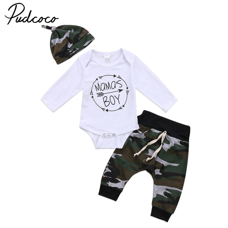 2018 Brand New 3Pcs Set Newborn Toddler Infant Baby Boy Long Sleeve Tops Romper Camouflage Pants Hat 3Pcs Kids Outfits Clothes