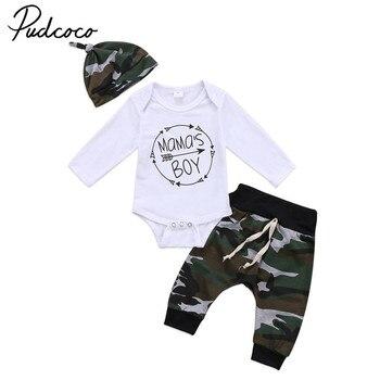 a26f577178af2 2018 tout nouveau 3 pièces ensemble nouveau-né enfant en bas âge bébé garçon  à manches longues hauts barboteuse Camouflage pantalon chapeau 3 pièces  enfants ...