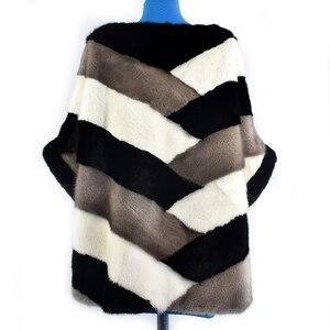 Image 4 - 2020 新リアルミンクの毛皮コートジャケットポケットバットスリーブバットウィングファッション女性の毛皮のコート厚く暖かいストリートスタイル半袖