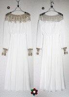 Piętro długość ciężki zroszony formalna szyfonu długie rękawy dubai abaya sukienka kobiety strój muzułmański islamski odzież w106w