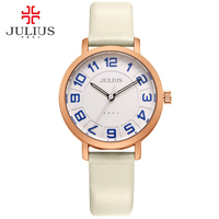JULIUS Alibaba Express Ladies Watches Women Dress Ultra Thin Large Rome Numbers Round Leather Relogio Free