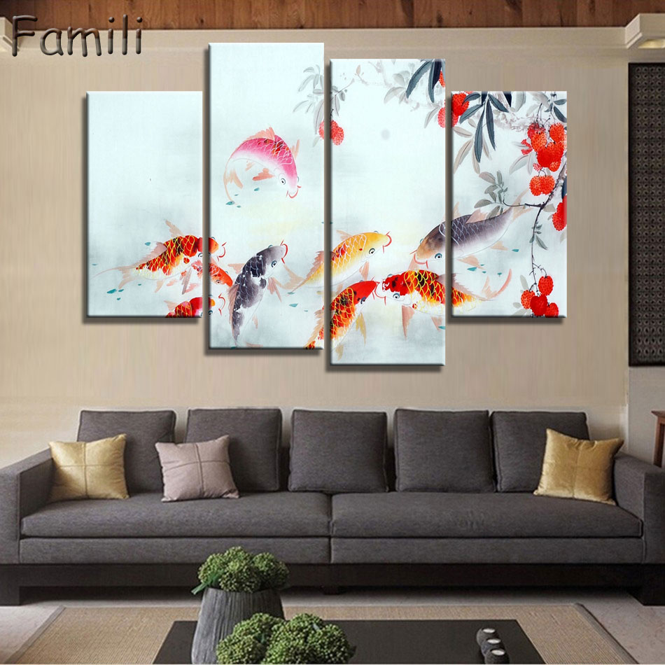 4 panel ancient chinese brush painting print canvas lotus for Koi canvas print