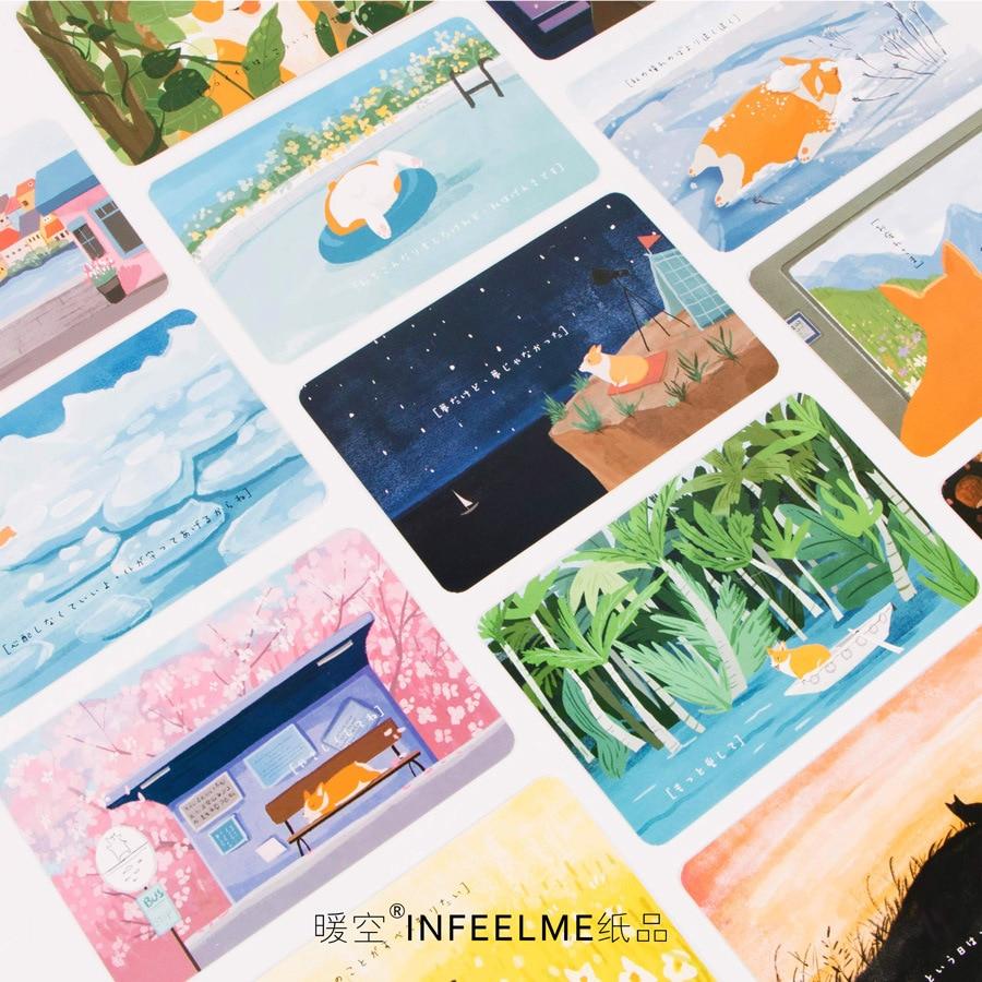 Business Cards Calendars, Planners & Cards Postcard Cartoon 30 Pcs/set Kawaii Cute Corgi Dog Postcard Anime Greeting Visit Card Wish Animals