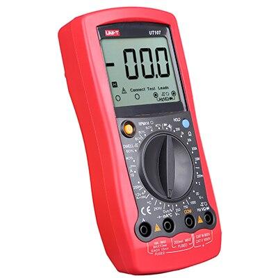 Testeur de fréquence de résistance de voltmètre de multimètres des véhicules à moteur tenu dans la main d'affichage à cristaux liquides de UNI-T UT107