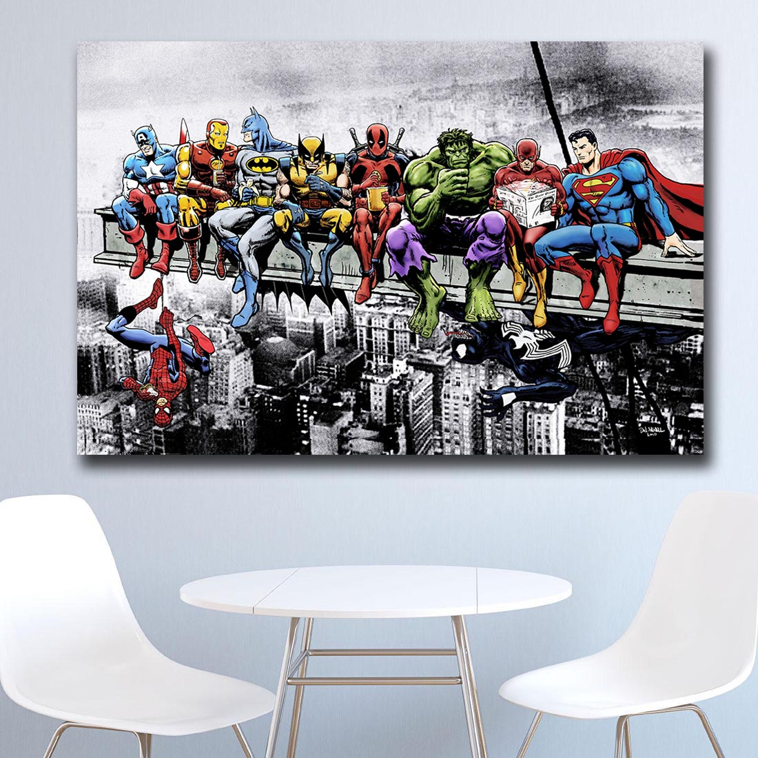 Mklql Superheroes Lunch Atop A Skyscraper Canvas Wall Pictures for Living Room Office Bedroom Modern Canvas Oil Painting