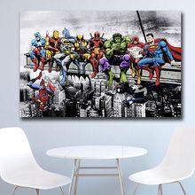 Wxkoil super-heróis almoço em cima de um arranha-céu quadros da parede lona para sala de estar escritório quarto moderna lona pintura a óleo