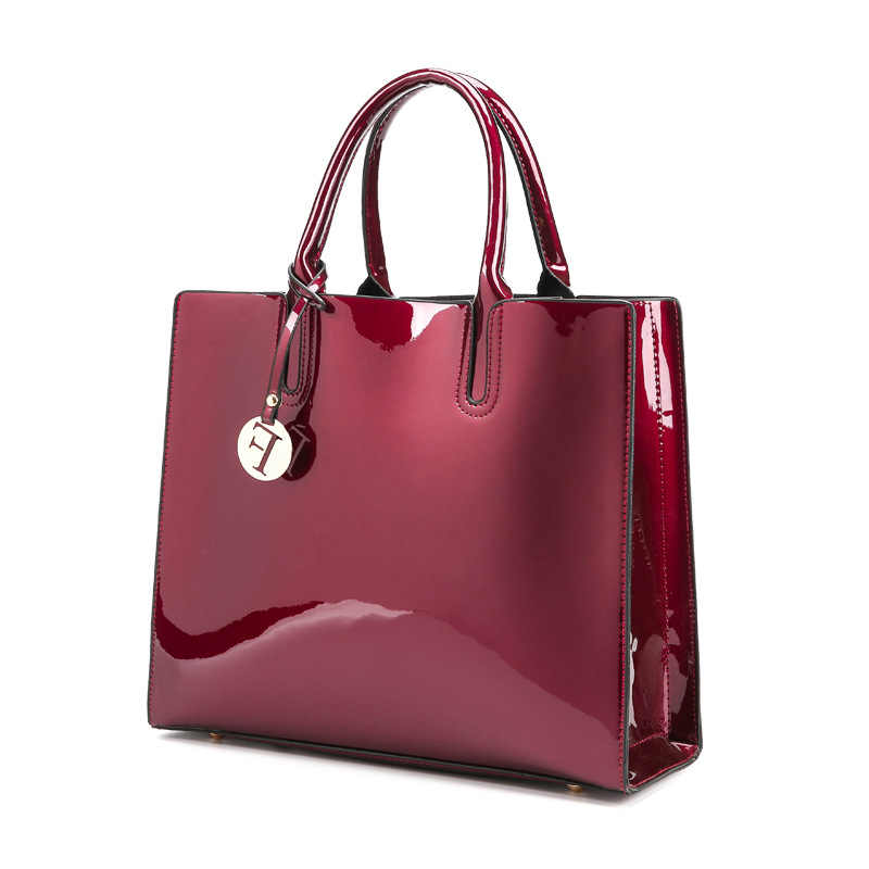 Women Famous Brand Lady s Lacquered Handbag Women Shoulder Bags luxury  designer Red Patent Leather Tote Bag 885db4cd337c