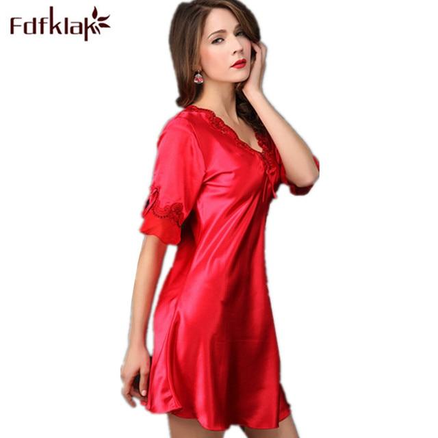 Ladies Nightdress Plus Size Silk Nightgown Dressing Gowns For Women Elegant  Long Nightgowns Sleepwear Summer Dress XXL E0179 57abe374f
