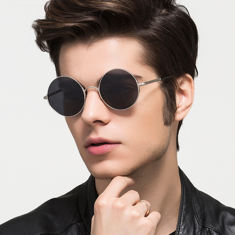 KATELUO Vintage Polarized Mens Sunglasses New Brand Designer Round Sun Glasses For Men Retro Male Eyewear With Accessories 7758