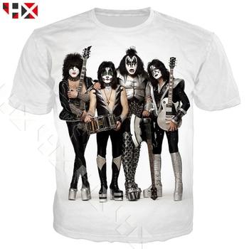 d1b8e924c72 HX Летняя мода прохладный металл рок-группа поцелуй футболка Для мужчин Для  женщин 3D печатных футболки унисекс Harajuku футболка уличная топы .