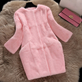 Real rabbit fur coats women autumn winter pocket slim long full pelt rabbit fur coat outerwear women's jacket plus size S-XXXL