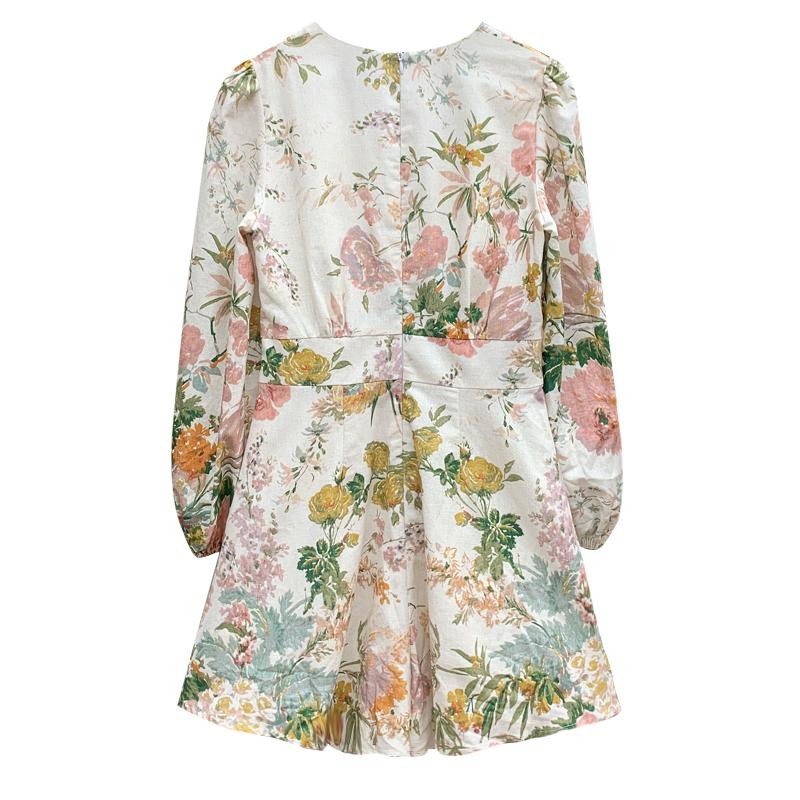 HTB15q wdqSs3KVjSZPiq6AsiVXan - Fashion Runway Holiday Rompers Female Sexy V-Neck High Waist Short Jumpsuit Elegant Womens Long Sleeve Vintage Floral Playsuits
