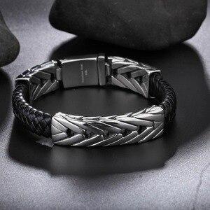Image 4 - TrustyLan popularna marka męska bransoletki czarna skóra i stal nierdzewna Wrap biżuteria bransoletka męska prezenty dla niego Pulseras Hombre