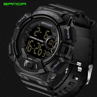 SANDA Brand Watch Men Military Sports Watches Fashion Waterproof LED Digital Watch For Men Clock Man