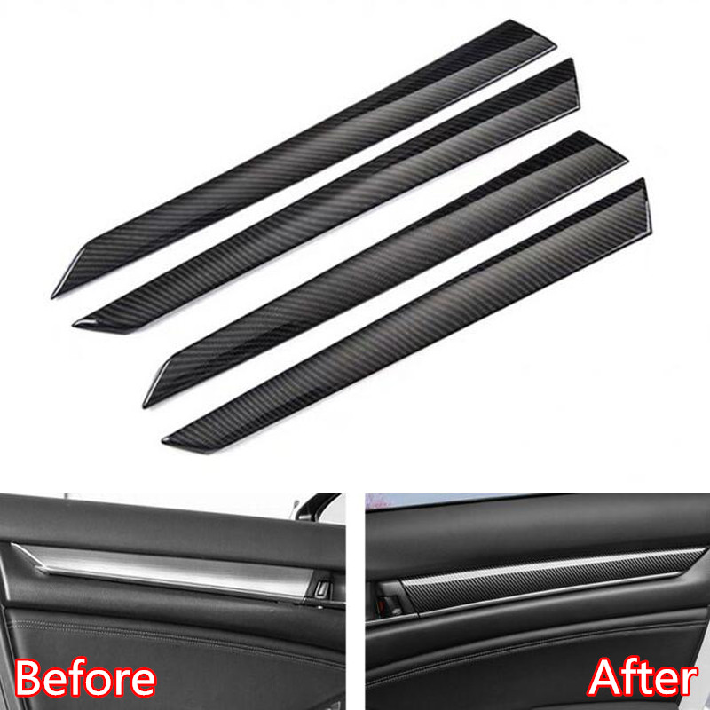 For <font><b>Honda</b></font> <font><b>Accord</b></font> 10th <font><b>2018</b></font> ABS Carbon Fiber Style Car Interior Door Panel Decoration Strips Lining Car Trim Styling <font><b>Accessory</b></font> image