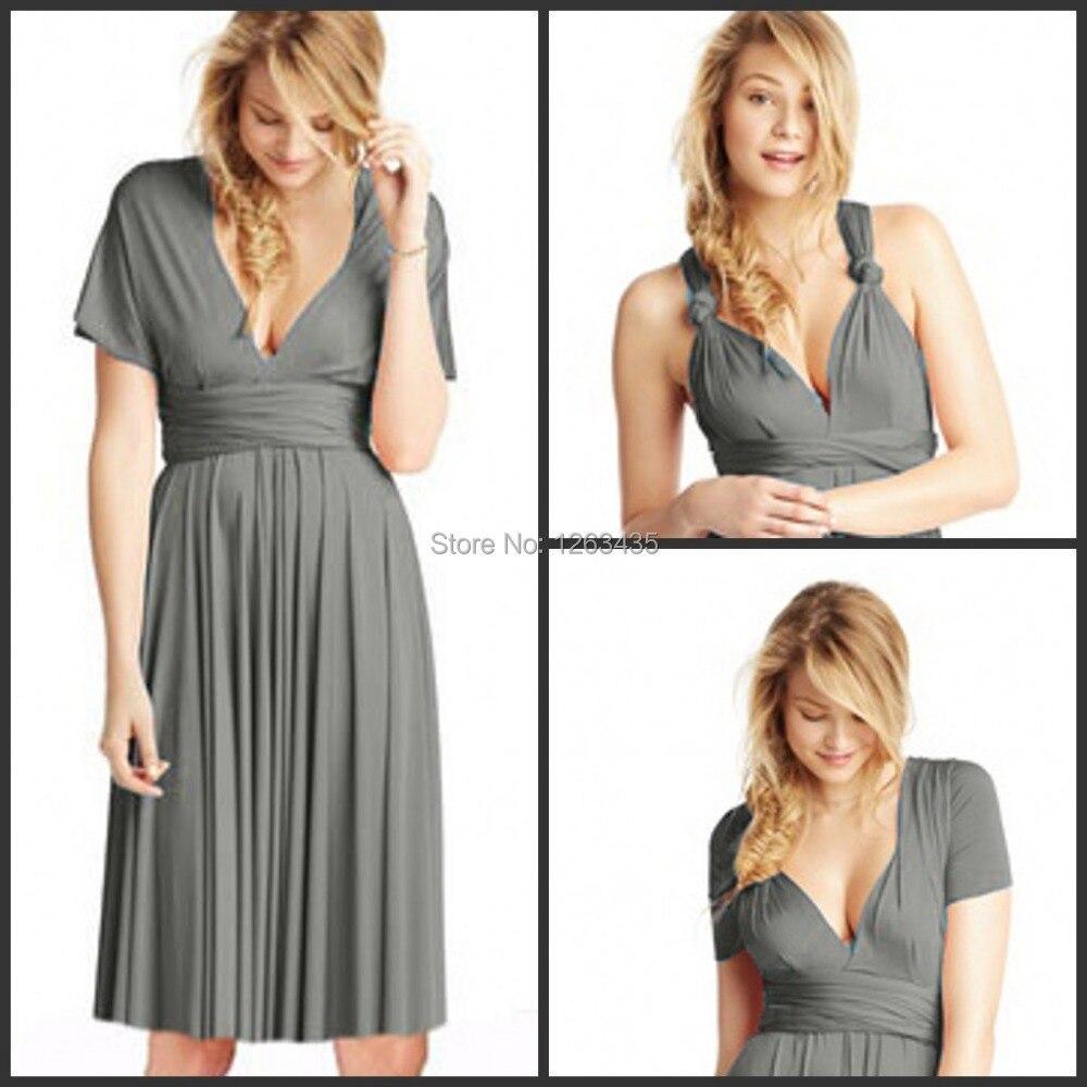 0b3e3754921 Under 100 Spaghetti Strap Slivery Knee Length Bridesmaid Dress Convertible  Bridesmaid Dress infinity dresses multi way styles