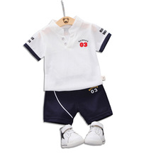 Boys set 2019 summer childrens stand collar short-sleeved T-shirt cotton fashion two-piece 1-4 years old