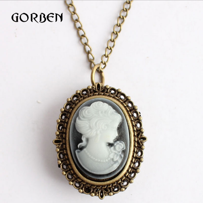 Bronze Quartz Pocket Watch Vintage Beauty Lady Icon Pocket Fob Watches Necklace Chain Girl Women Watches Relogio De Bolso