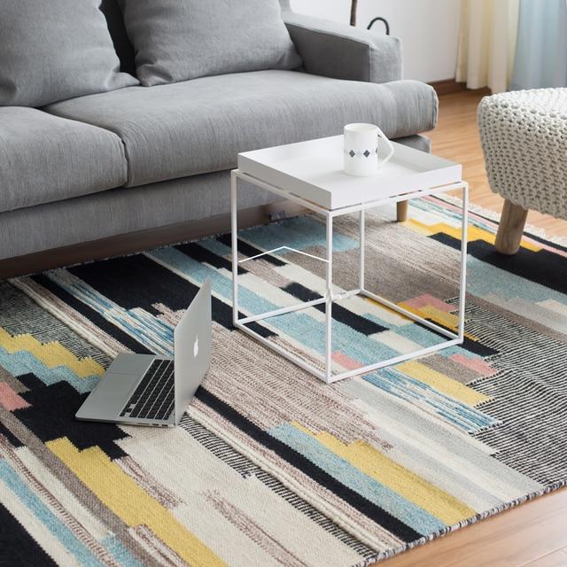 Buy 100 Wool Handmade Living Room Carpet Geometric Indian Blue Rug Plaid